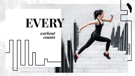 Workout Inspiration Girl Running in City Full HD video – шаблон для дизайну