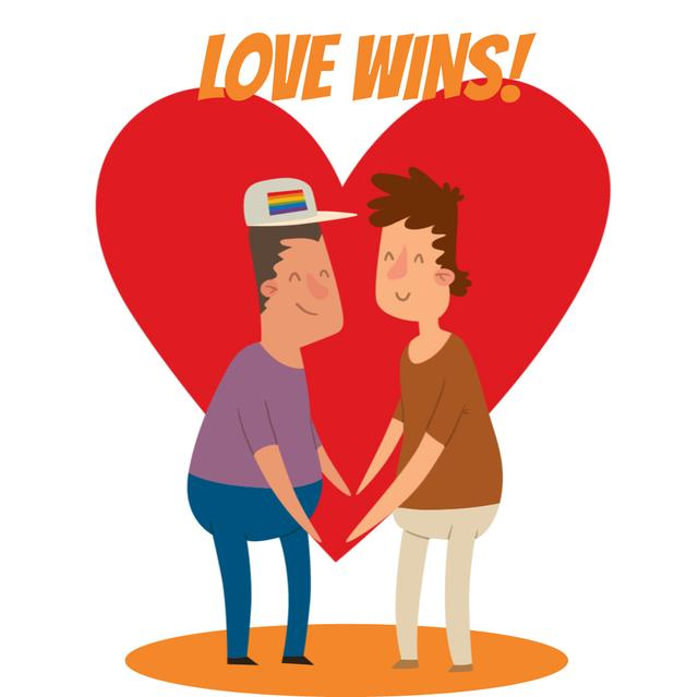 Modèle de visuel LGBT Lovers on Rainbow Heart - Animated Post