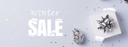 Plantilla de diseño de Winter Sale with Gift box Facebook cover