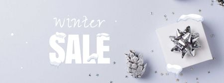 Template di design Winter Sale with Gift box Facebook cover