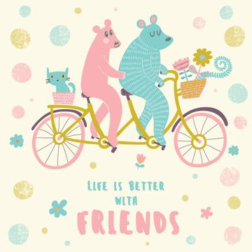 Two bears and cat on a bicycle with flowers