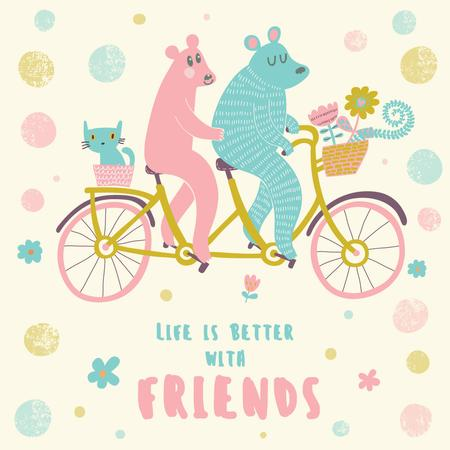 Two bears and cat on a bicycle with flowers Instagram Modelo de Design