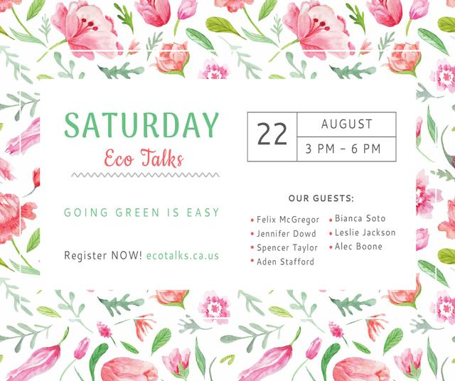 Ecological Event Watercolor Flowers Pattern Facebook Modelo de Design