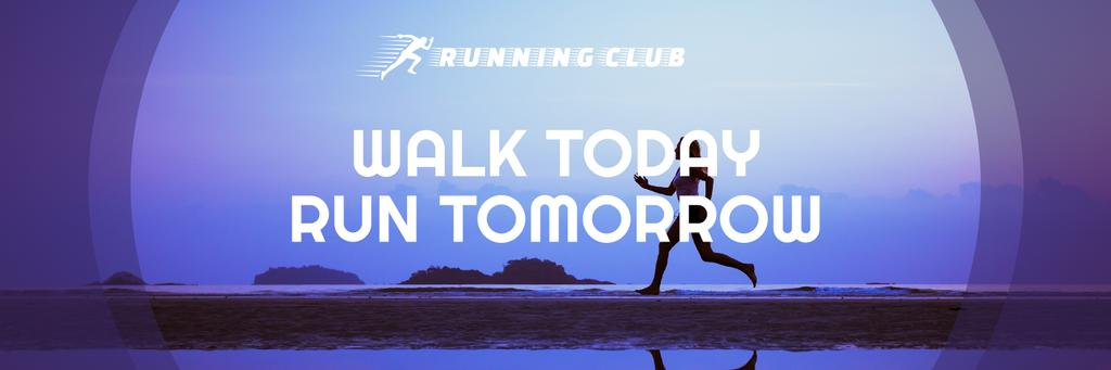 Motivational Sports Quote Running Woman in Blue — Crear un diseño