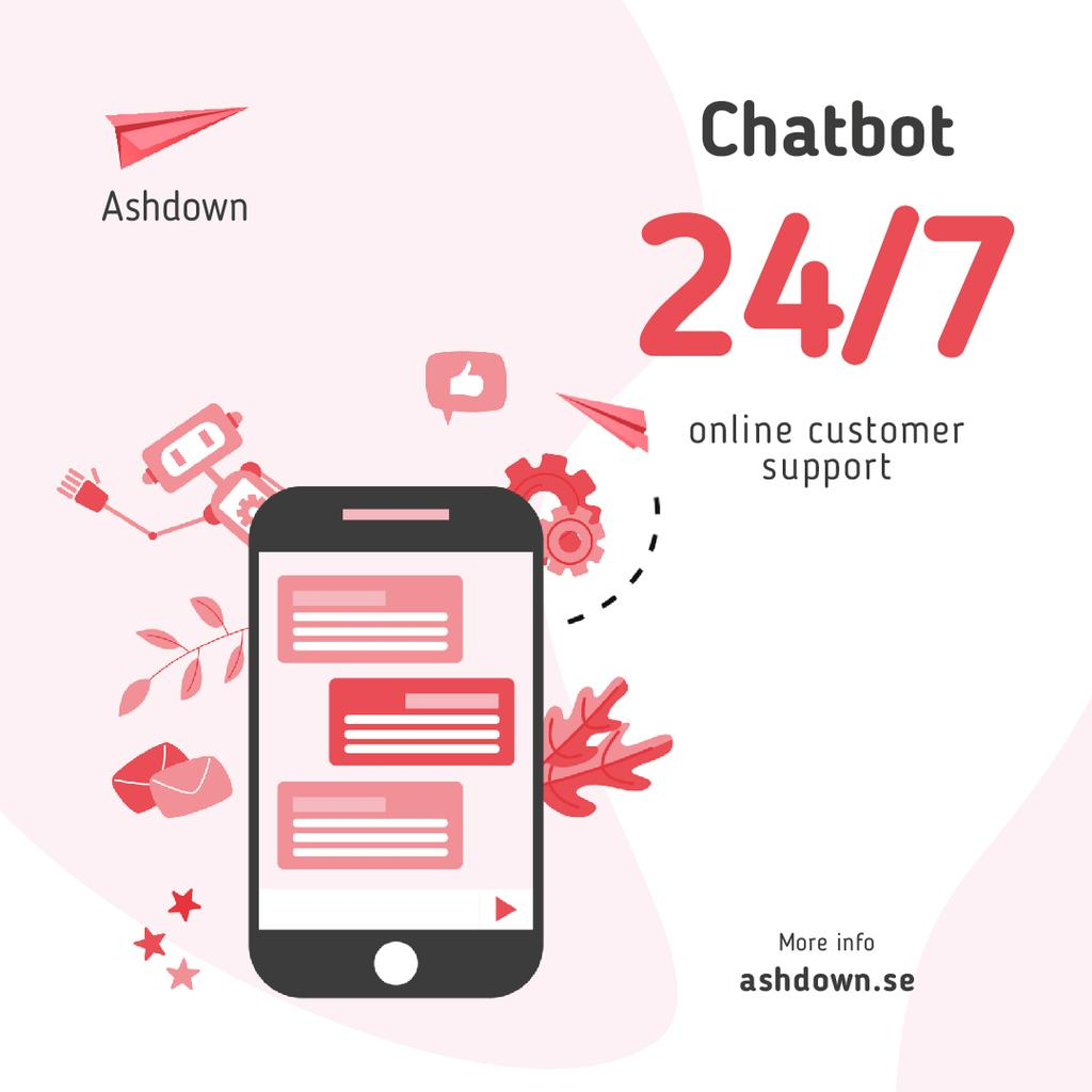 Online Customers Support Chat on Phone Screen — Create a Design