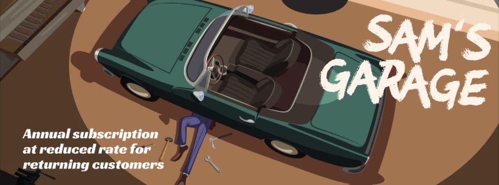 Man repairing car in garage — Modelo de projeto