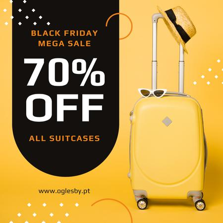 Template di design Black Friday Sale Suitcase in Yellow Instagram AD