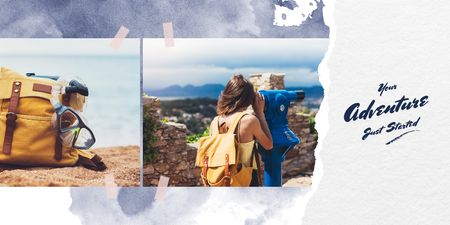Girl hiking with backpack Twitter Design Template
