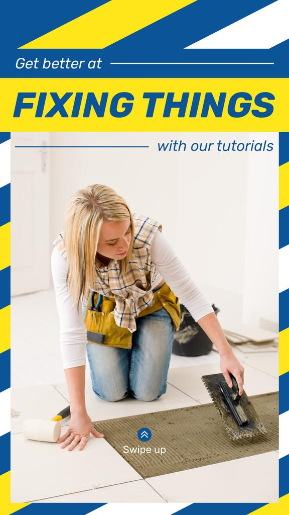 Woman Fixing Tiles — Créer un visuel
