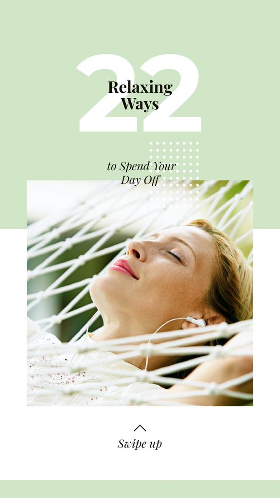 Relaxing Tips with Woman Resting in Hammock — Crea un design