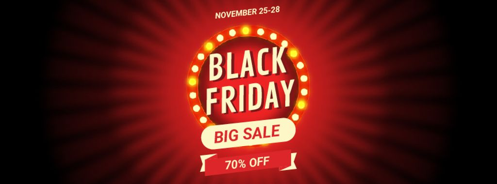 Black Friday Sale Flickering Lamps | Facebook Video Cover Template — Створити дизайн
