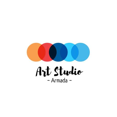 Art Studio Ad with Colorful Circles Logo Modelo de Design
