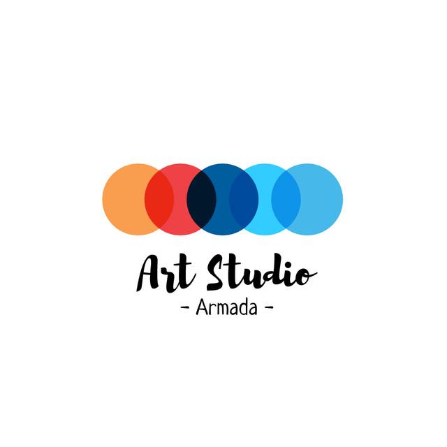 Modèle de visuel Art Studio Ad with Colorful Circles - Logo