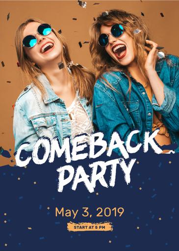 Party Invitation Happy Girls Under Confetti