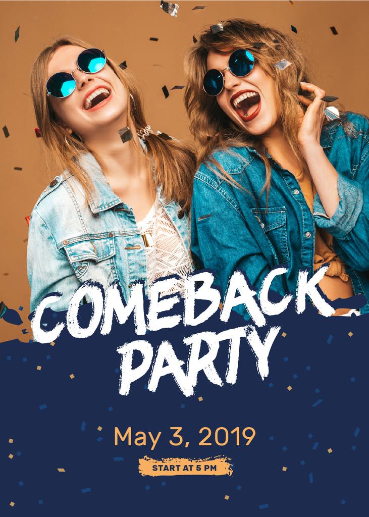 Party Invitation Happy Girls under Confetti — Create a Design