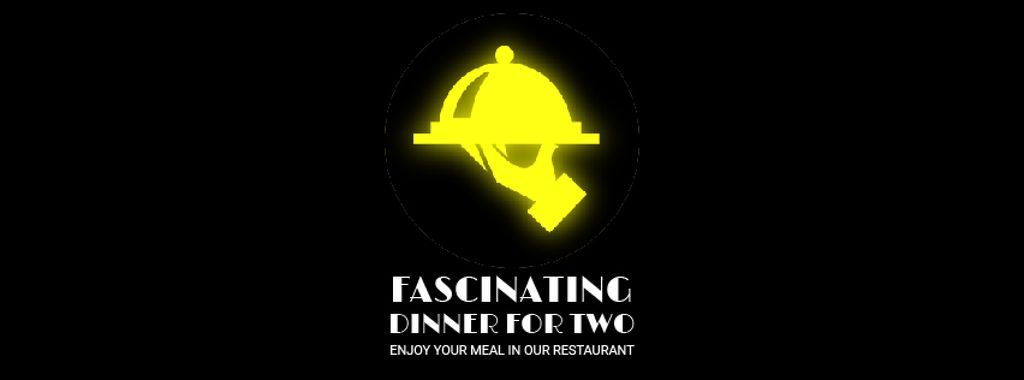 Neon Restaurant Signboard with Food Icons Facebook Video Cover — Create a Design