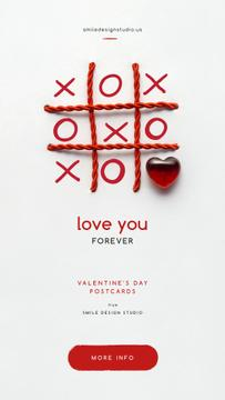 Tic-tac-toe game with red heart