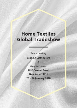 Home Textiles event announcement White Silk Flayer Design Template
