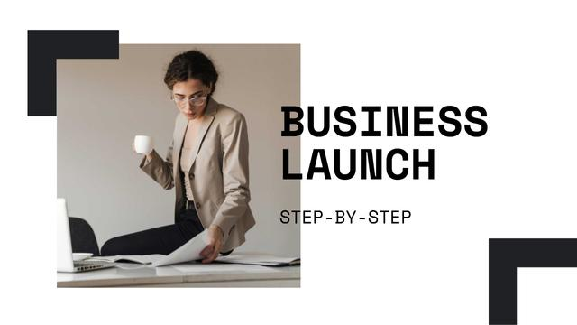 Business Launch tips with Confident Businesswoman Youtube Thumbnail – шаблон для дизайну