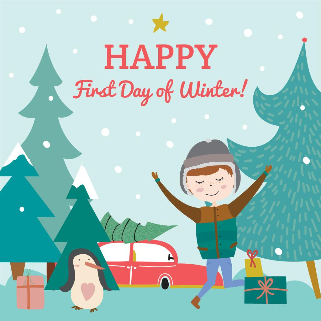 Happy first day of Winter illustration — Maak een ontwerp