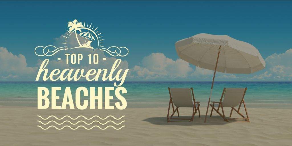 heavenly beaches poster with chaise lounges — Crear un diseño
