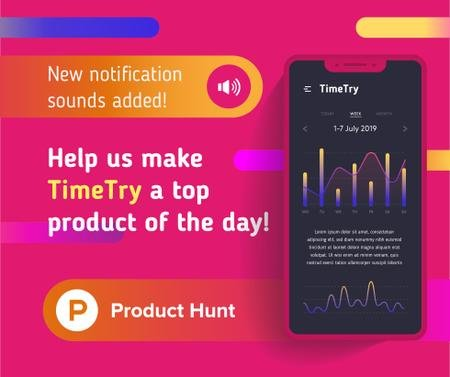 Product Hunt Application Stats on Screen Facebook Tasarım Şablonu