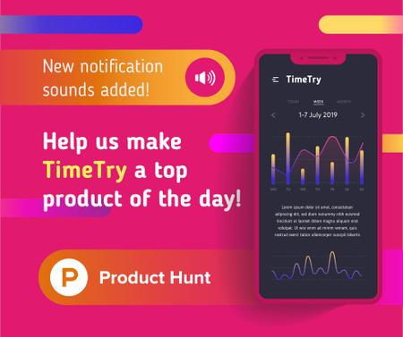 Product Hunt Application Stats on Screen Facebook Modelo de Design