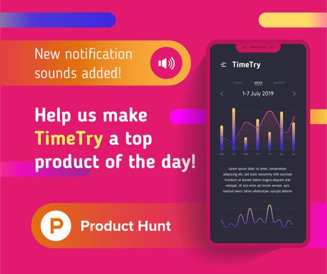 Product Hunt Application Stats on Screen Facebook – шаблон для дизайну