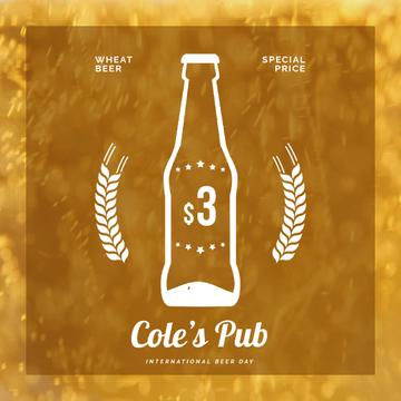 Pub Offer with Beer in Bottle | Square Video Template