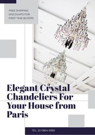 Elegant crystal chandeliers from Paris Poster Design Template