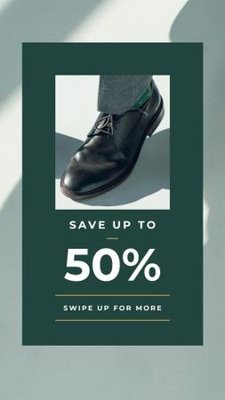 Plantilla de diseño de Fashion Sale man in Stylish Shoes Instagram Story