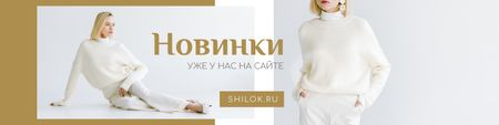 Woman posing in stylish white Clothes and earrings VK Community Cover Modelo de Design