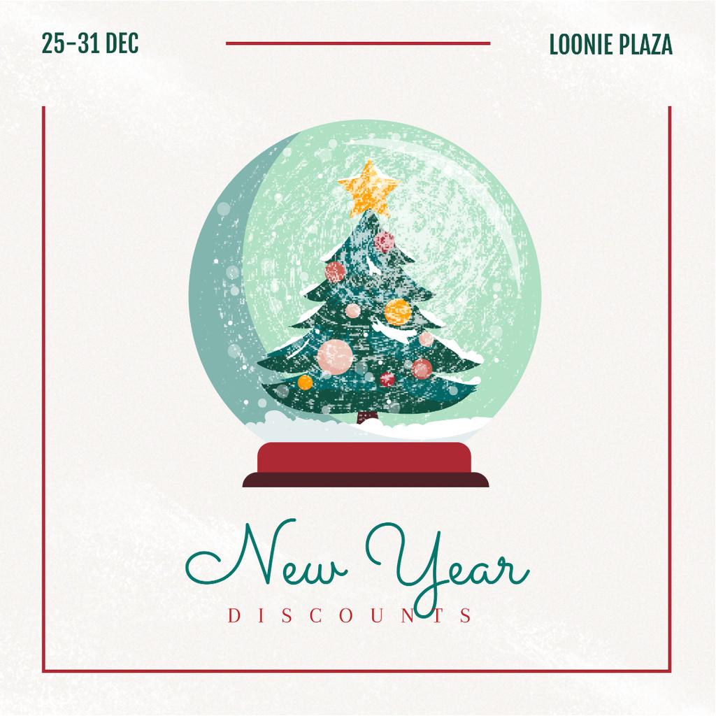 New Year Sale Tree in Snowball — ein Design erstellen