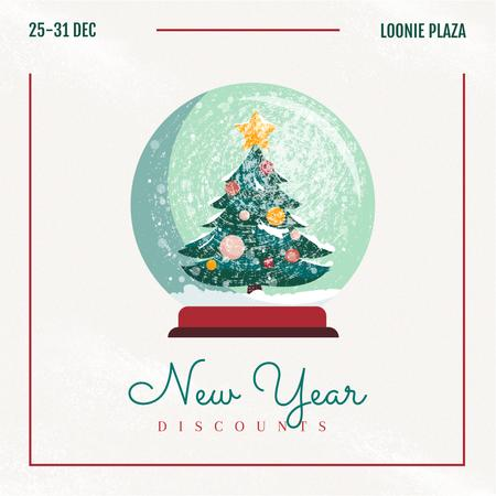 Plantilla de diseño de New Year Sale Tree in Snowball Instagram
