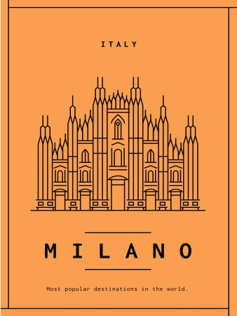 Milano cathedral graphic icon Poster US Modelo de Design