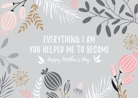 Happy Mother's Day Greeting Postcard Design Template