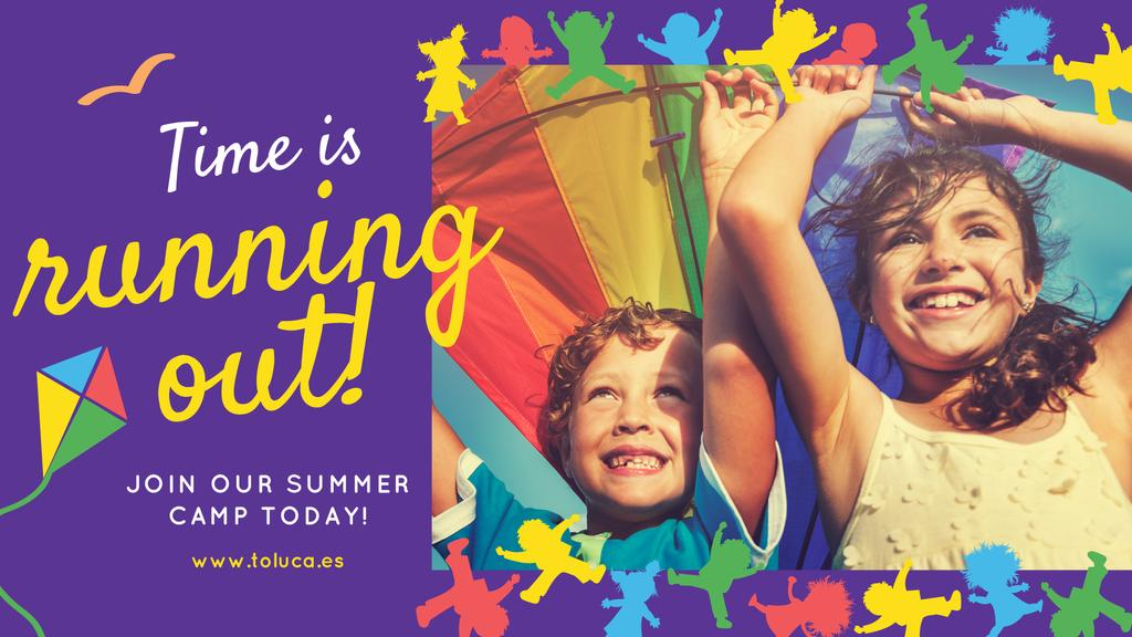 Summer Camp Invitation with Kids in Tent for Facebook Event Cover — Create a Design