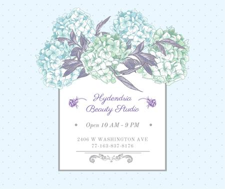 Hydrangea beauty studio ad in Blue Facebook Design Template