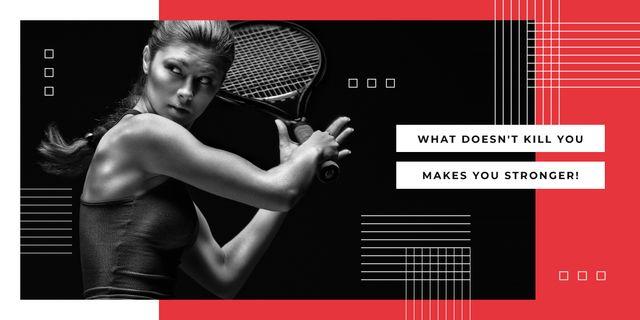 Young woman playing tennis Imageデザインテンプレート