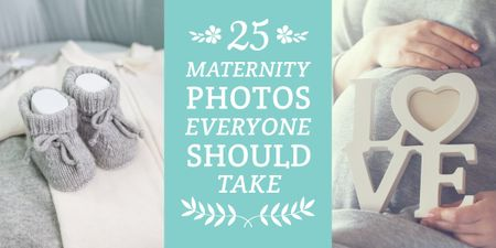 Pregnant woman with baby's bootees Image Design Template