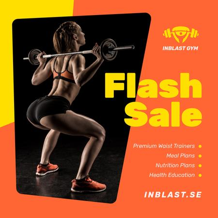 Gym Offer Woman Lifting Barbell Instagram Modelo de Design