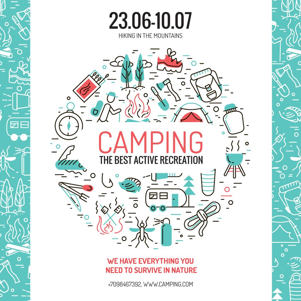 Modèle de visuel Camping trip offer with Travelling icons - Instagram AD
