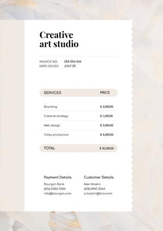 Creative Art Studio Services Invoiceデザインテンプレート