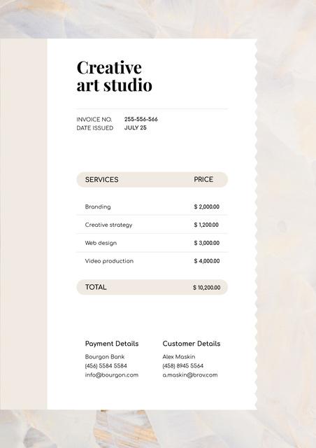 Modèle de visuel Creative Art Studio Services - Invoice