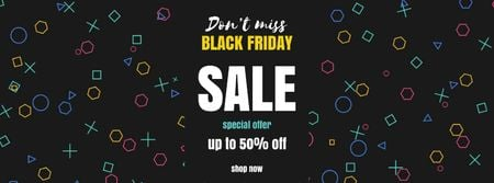 Black Friday Sale on flickering elements Facebook Video cover Modelo de Design