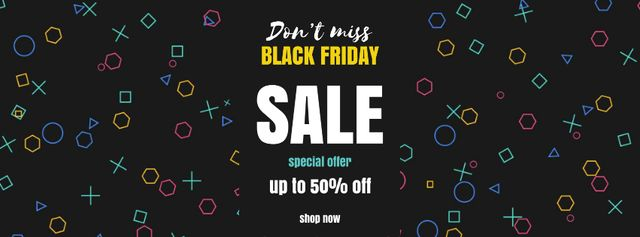 Plantilla de diseño de Black Friday Sale on flickering elements Facebook Video cover