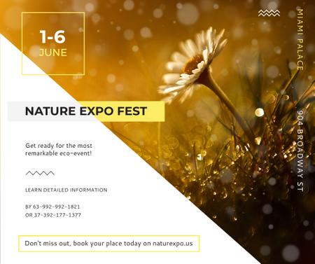 Nature Expo announcement Blooming Daisy Flower Facebook Modelo de Design