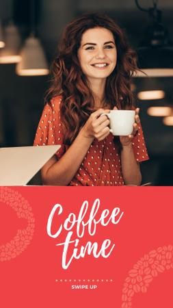 Woman holding coffee cup Instagram Story Modelo de Design