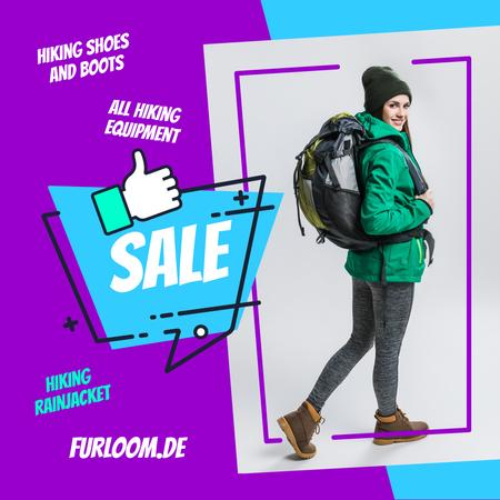 Plantilla de diseño de Hiking Equipment Ad Woman with Backpack Instagram AD