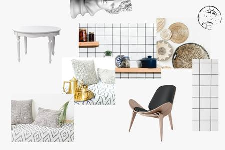 Plantilla de diseño de Scandinavian Interior in white tones Mood Board
